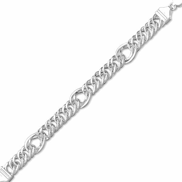 Taraash 925 Sterling Classic Curb Silver Bracelet For Men