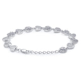 Taraash Sterling Silver White Cz Heart Shape Bracelet For Women / Girls BR1670R