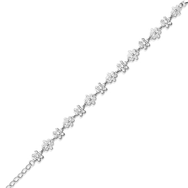 Taraash 925 Sterling Silver Floral Shape Daily Wear Bracelet For Women BR1779R