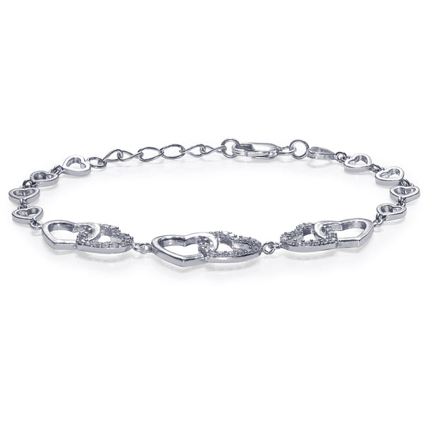 Taraash 925 Sterling Silver White Cz Heart Design Bracelet For Women BR1795R