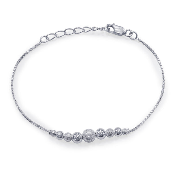 Taraash 925 Sterling Silver  Frosted Silver Balls Bracelets For Women BR1806F