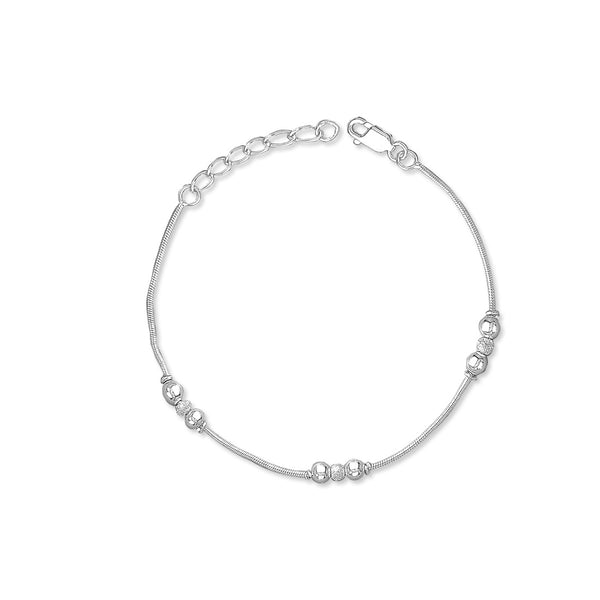 Taraash 925 Sterling Frosted Ball Silver Bracelet For Women BR1812F