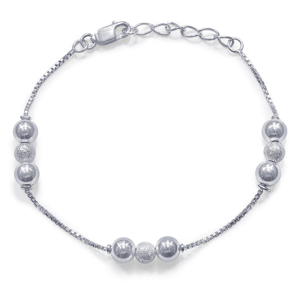 Taraash 925 Sterling Silver Frosted Ball Bracelet For Women BR1813F