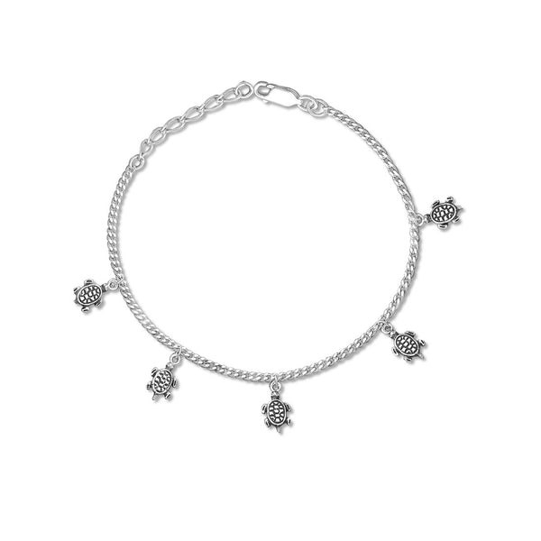 Taraash 925 Silver Antique Turtle Charm Women Bracelets