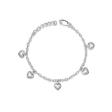Taraash 925 Silver Heart Charm Silver Bracelet For Women