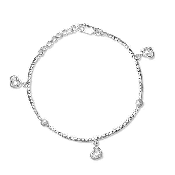 Taraash Sterling Silver Double Heart shape bracelets