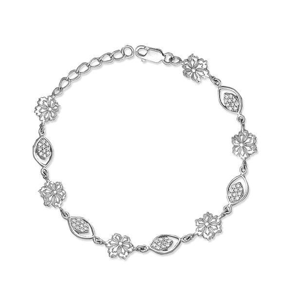 Taraash 925 Silver Floral Design Bracelet For Women