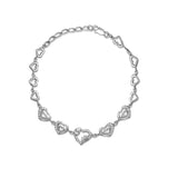 Taraash Sterling Silver Rhodium CZ Heart Bracelet For Womens