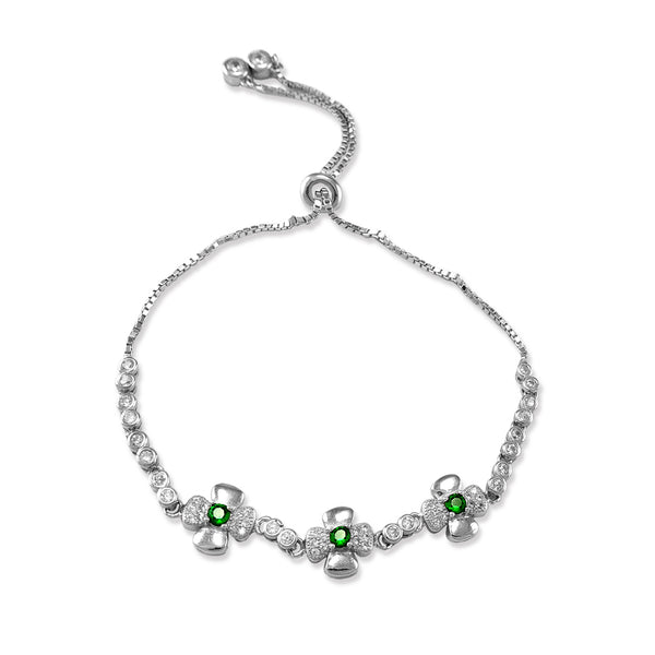Taraash 925 Sterling Sliver Floral Design with Green CZ Stone Studded Bracelet for Womens Girls Valentine Anniversary Gift BRML052-G