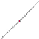 Taraash 925 Silver Rhombus Pink CZ Bracelete for Womens