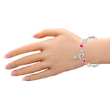 Taraash 925 Sterling Silver Double Heart Pink White CZ For Women