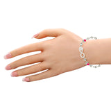 Taraash Sterling Silver Infinity Design Pink CZ Bracelet For Women