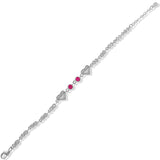 Taraash 925 Silver Lovely Heart White and Pink CZ Bracelet For Women