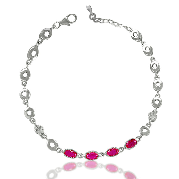 Taraash Sterling Silver Pink Oval Shape CZ Link Bracelet For Women