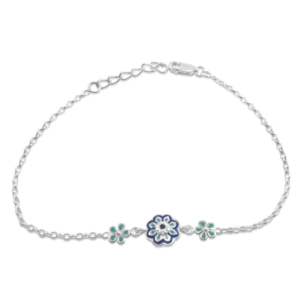 Taraash Sterling Silver Blue Enamel Floral Charm Bracelet Rakhi For Brother BRR0502S