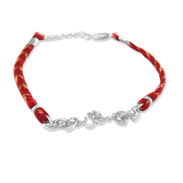 Taraash 925 Silver Om Design Thread Rakhi For Men