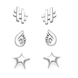 Taraash 925 Sterling Silver Bear Paisley and abstruct Design Earrings For Kids CBER134I-002