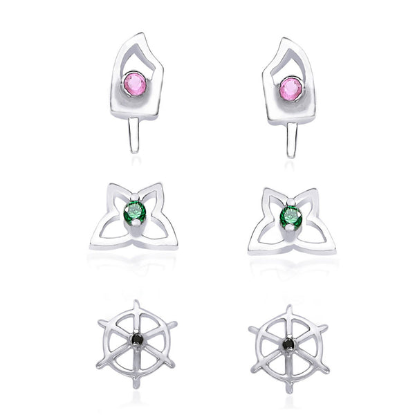 Taraash 925 Sterling Silver Combo set of Floral,and abstract Designs earrings for women CBER135I-002