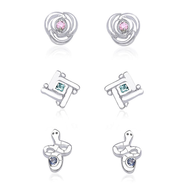 Taraash 925 Sterling Silver Combo set of Floral,Snke and abstract Designs earrings for kids CBER135I-003