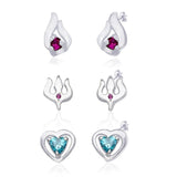 Taraash 925 Sterling Silver Combo set of abstract,Trishul & Heart Designs earrings for women CBER135I-005