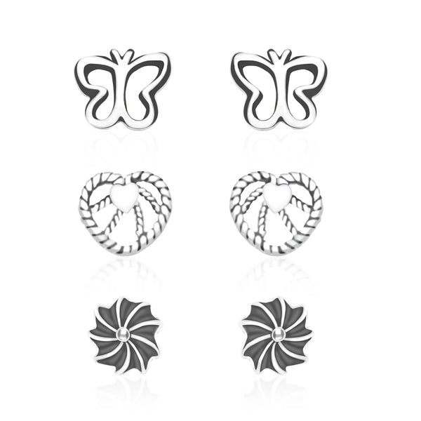 925 Sterling Silver Women Combo of Heart,Butterfly and Floral designs earrings CBER137I-002