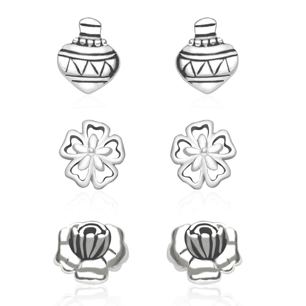 925 Sterling Silver Women Combo of Floral and Kailesh designs earrings CBER137I-005