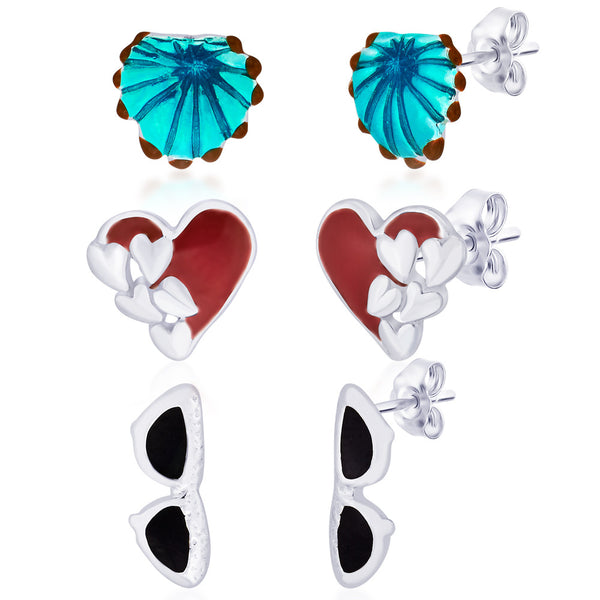 Taraash 925 Sterling Silver Earrings Combo of Shell,Heart and Glass CBER152I-004