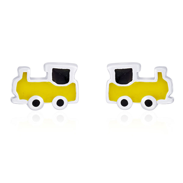 Taraash Yellow & Black enamel with Railway Engine Stud 925 Sterling Silver Earring For Women CBER203I-05