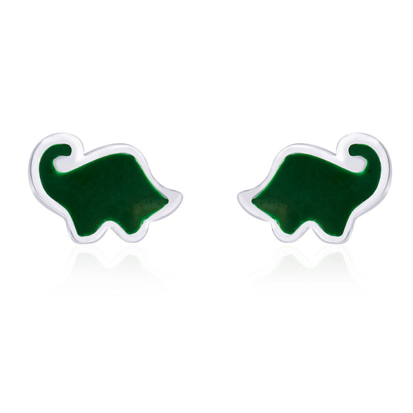 Taraash Highlighted Green Enamel Elephant Shaped Stud 925 Sterling Silver Earring For Women CBER203I-08