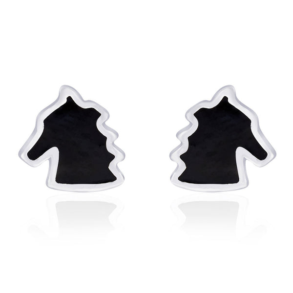 Taraash Horse Shape with Black Enamel Stud 925 Sterling Silver Earring For Women CBER203I-13