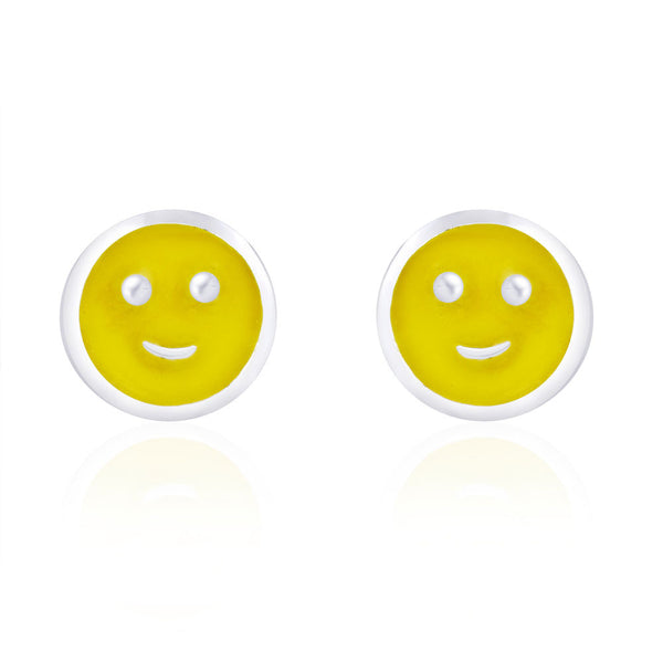 Taraash Round Smiley Shape with Yellow Enamel Stud 925 Sterling Silver Earring For Women CBER203I-15