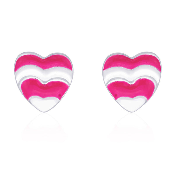 Taraash Heart shape with Baby Pink Enamel Stud 925 Sterling Silver Earring For Women CBER203I-16