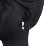 Taraash Criss Cross Design CZ Drop 925 Sterling Silver Earring CBER221I-06