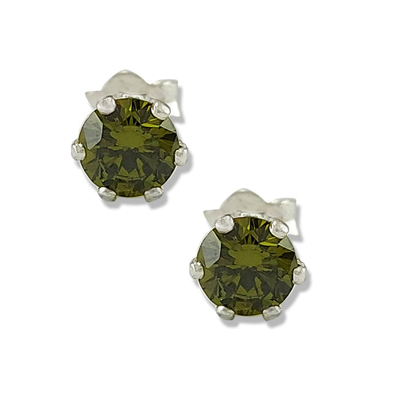 Taraash 925 Sterling Silver Olive Green Round Solitaire CZ Stud Earrings For Women CBER226I-04