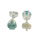 Taraash 925 Sterling Silver Light Sky Blue Round Solitaire CZ Stud Earrings For Women CBER226I-10