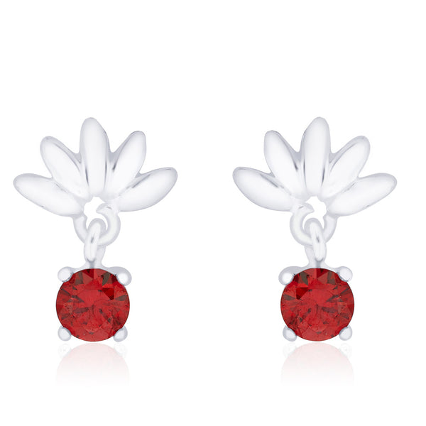 Taraash 925 Sterling Silver Red CZ Drop Earrings for women CBER240I-02