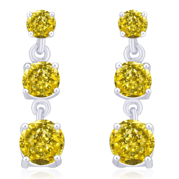 Taraash 925 Sterling Silver Yellow CZ Drop Earrings for women CBER243I-03