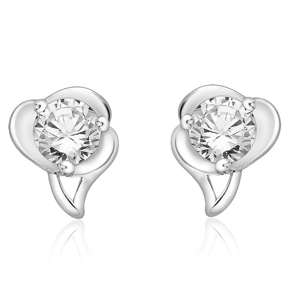Taraash 925 Sterling Silver CZ Abstract Design Stud Earrings jewellery for women CBER267I-07