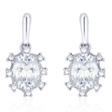 Taraash 925 Sterling silver CZ Oval Shape Design Drop earrings for women CBER273I-04