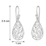 Taraash Sterling Silver Pear Shape Abstract Design Jhumki Earrings for women CBER280I-03