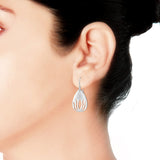 Taraash Sterling Silver Pear Shape Abstract Design French Hook Earrings for women CBER280I-09