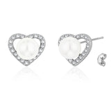 Taraash Sterling Silver CZ & Pearl Heart Earrings For Womens CBER293I-07
