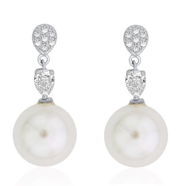 Taraash Sterling Silver Pear CZ With Dangling Pearl Drop Earring For Women CBER294I-04