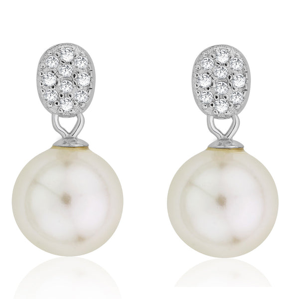 Taraash Sterling Silver CZ Adorn Oval & Pearl Drop Earring For Women CBER294I-05