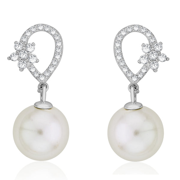 Taraash Sterling Silver CZ & Pearl Floral Drop Earrings CBER294I-07