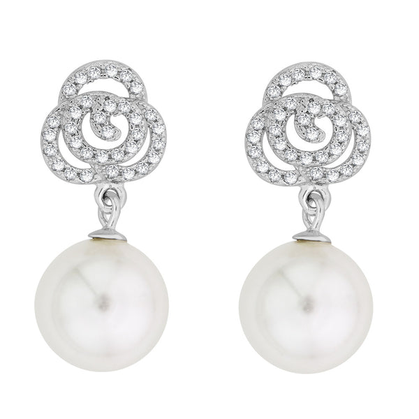 Taraash Sterling Silver CZ & Pearl Drop Earrings CBER294I-09