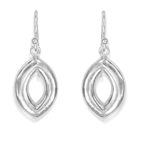 Taraash Sterling Silver Open Marquise Shape Hollow Hook Earrings For Women CBER297I-01