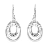 Taraash Sterling Silver Open Oval Shape Hollow Hook Earrings For Women CBER297I-02