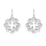 Taraash Sterling Silver Beautiful Floral Hollow Hook Earrings For Women CBER297I-07