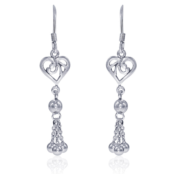 Taraash Sterling Silver Heart Shape French Hook Jhumki For Women CBER320I-01